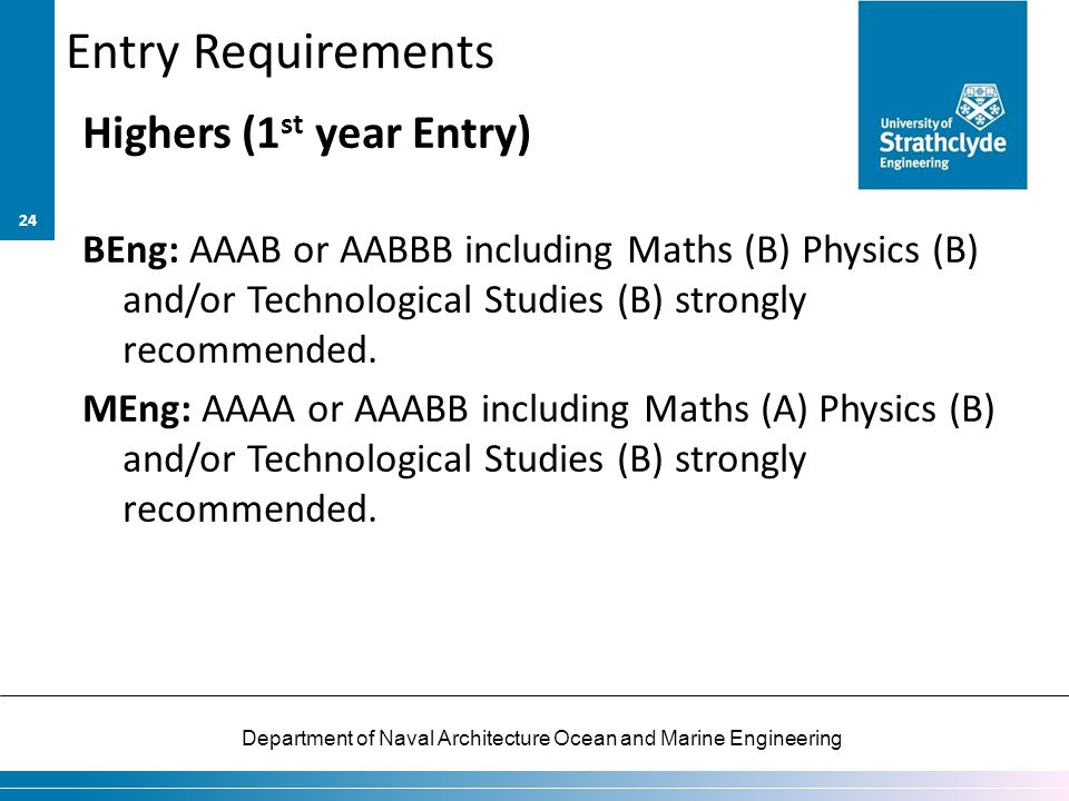 Entry Requirements Highers (1st year Entry)