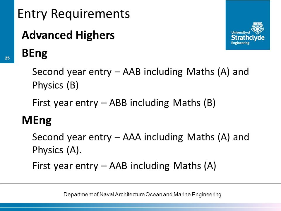 Entry Requirements Advanced Highers BEng