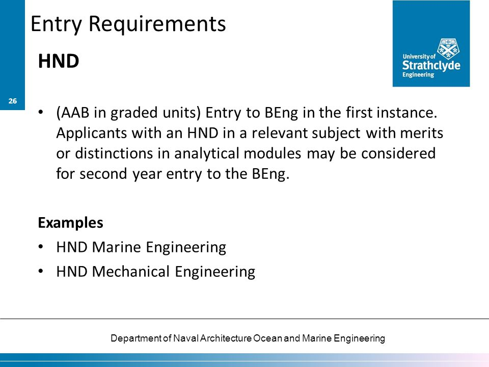 Entry Requirements HND