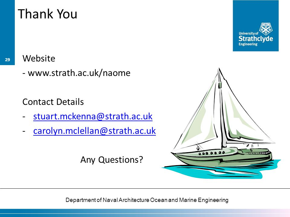 Thank You Website - www.strath.ac.uk/naome Contact Details