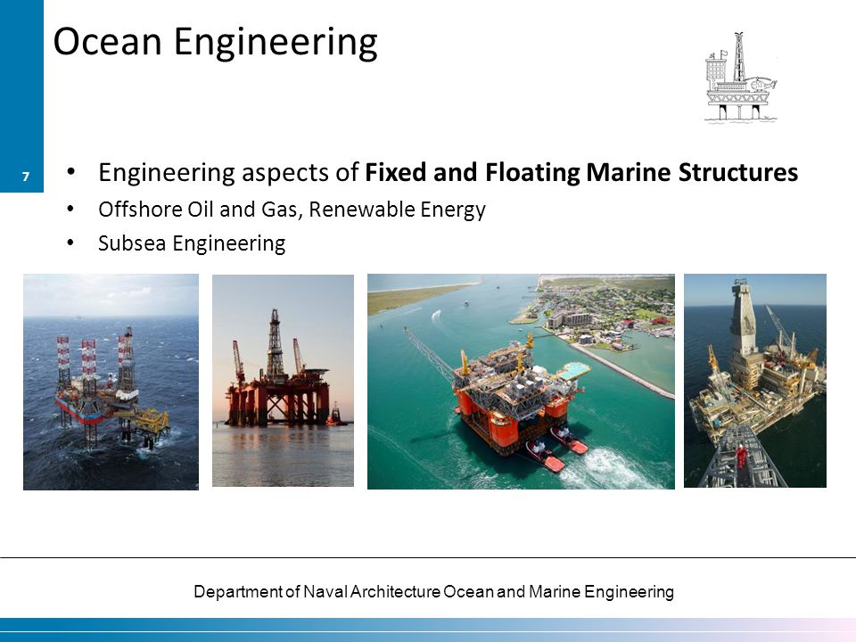 Ocean Engineering Engineering aspects of Fixed and Floating Marine Structures. Offshore Oil and Gas, Renewable Energy.