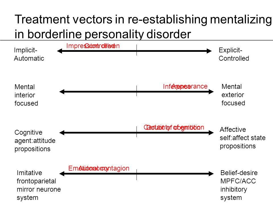 Treatment vectors in re-establishing mentalizing