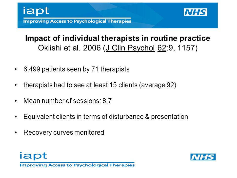 Impact of individual therapists in routine practice Okiishi et al