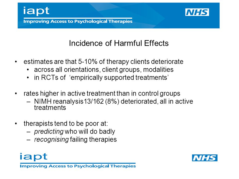 Incidence of Harmful Effects