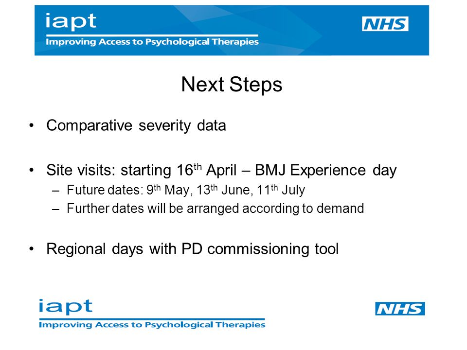 Next Steps Comparative severity data