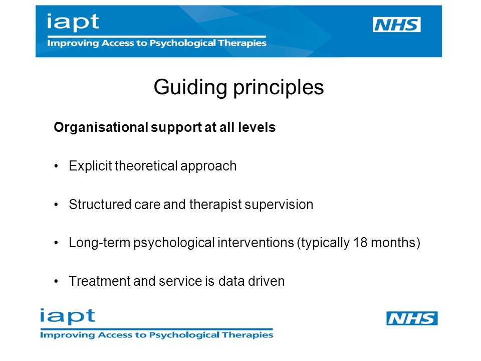Guiding principles Organisational support at all levels