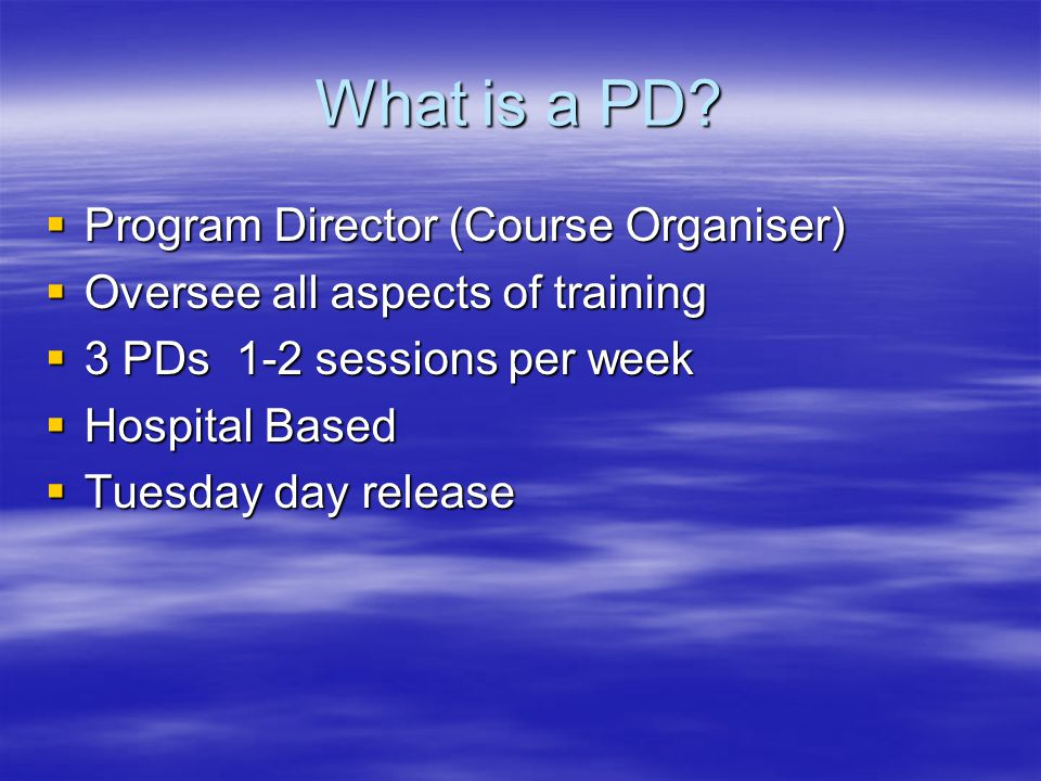 What is a PD Program Director (Course Organiser)