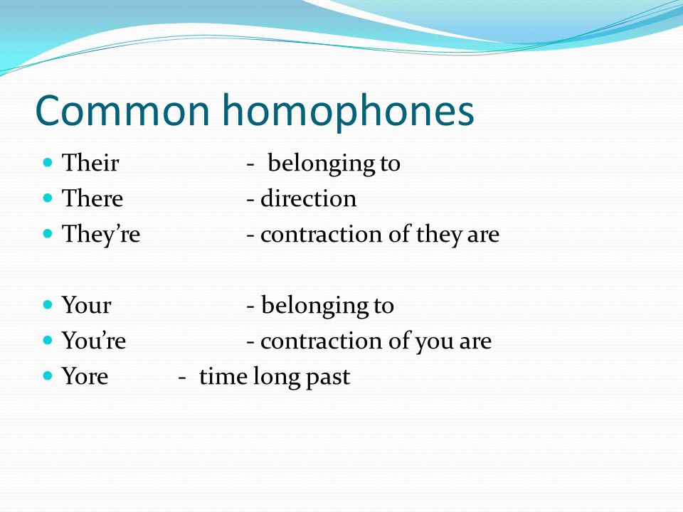 Common homophones Their - belonging to There - direction