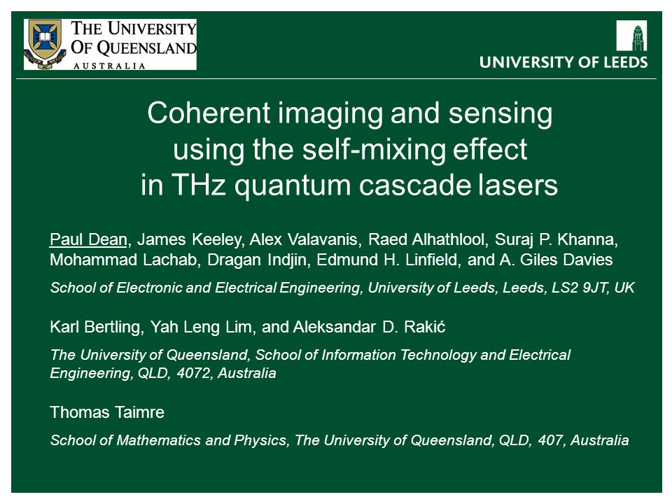 Coherent imaging and sensing using the self-mixing effect