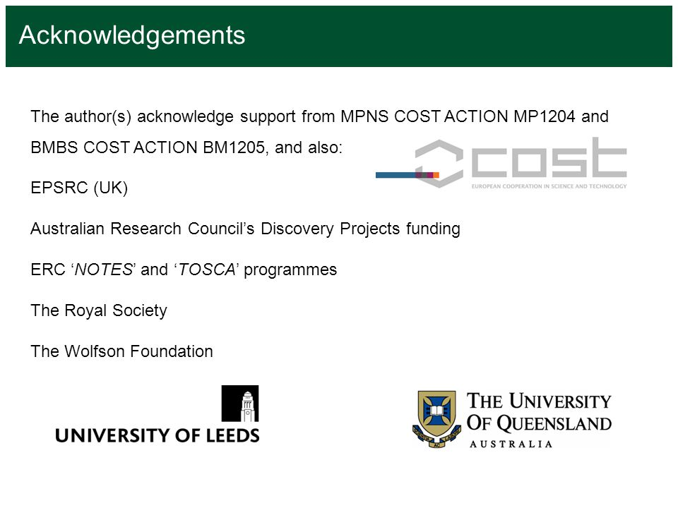 Acknowledgements The author(s) acknowledge support from MPNS COST ACTION MP1204 and BMBS COST ACTION BM1205, and also: