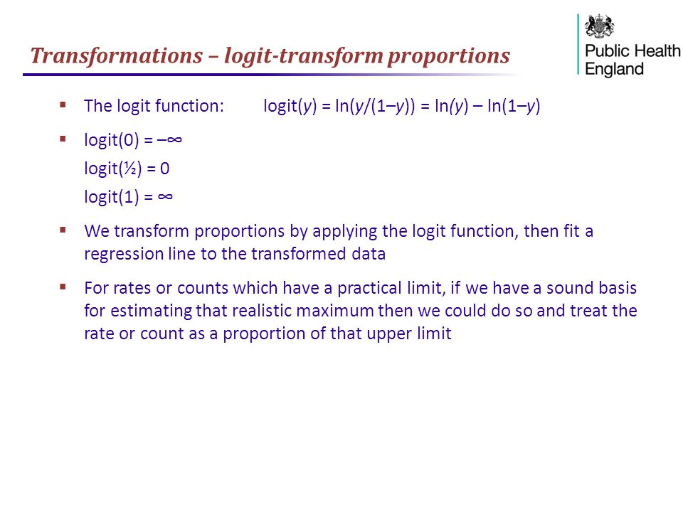 Transformations – logit-transform proportions