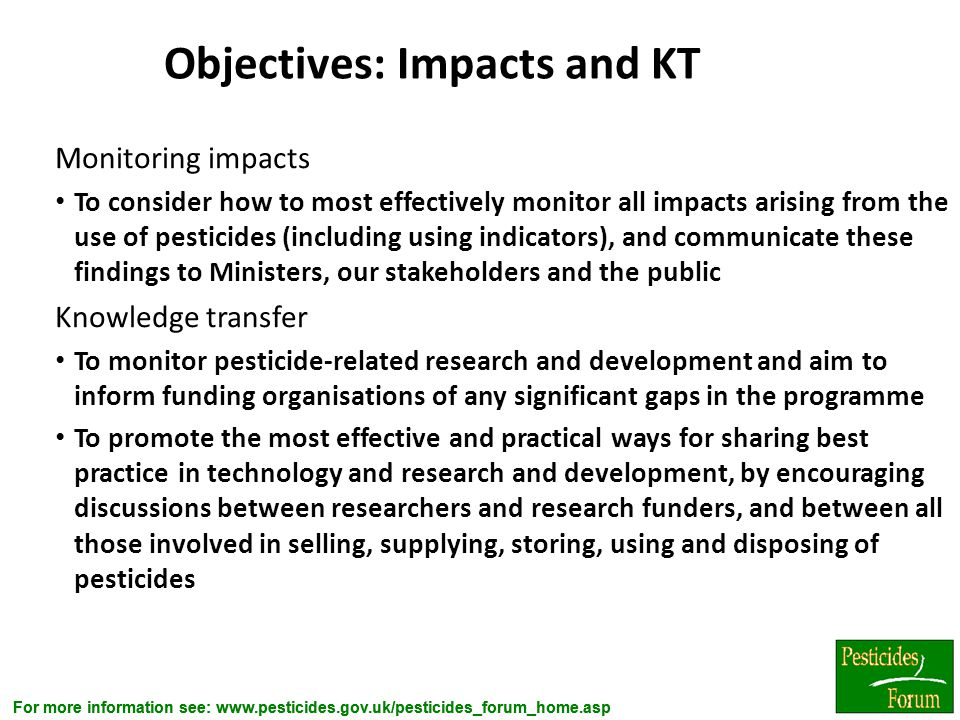 Objectives: Impacts and KT