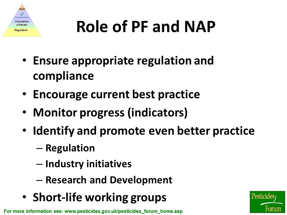 Role of PF and NAP Ensure appropriate regulation and compliance