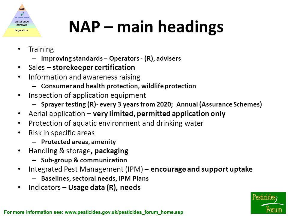 NAP – main headings Training Sales – storekeeper certification
