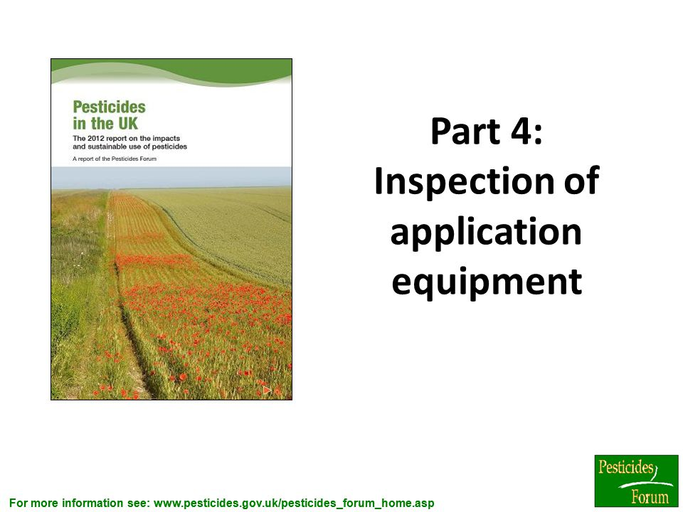Part 4: Inspection of application equipment