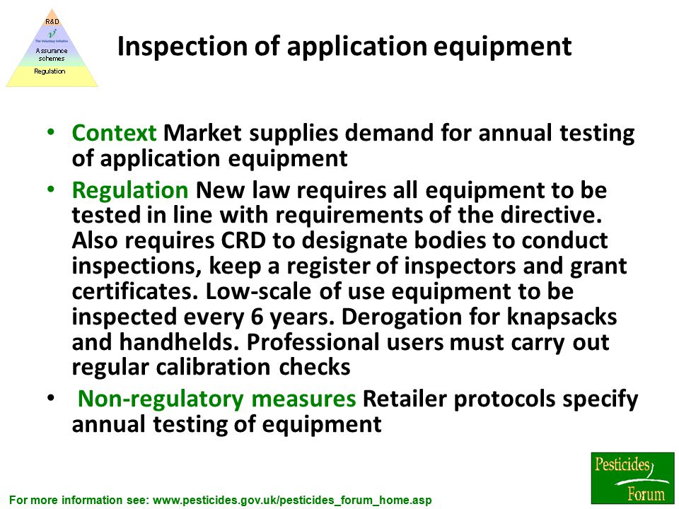 Inspection of application equipment
