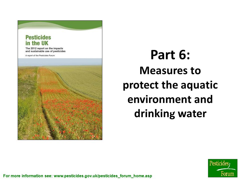 Part 6: Measures to protect the aquatic environment and drinking water
