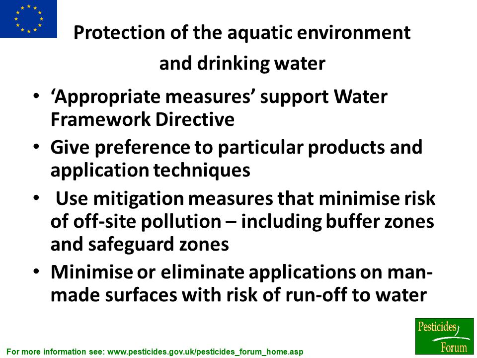 Protection of the aquatic environment and drinking water