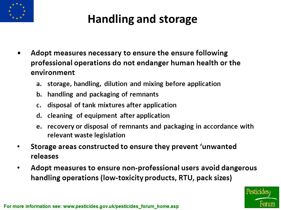 Handling and storage Adopt measures necessary to ensure the ensure following professional operations do not endanger human health or the environment.