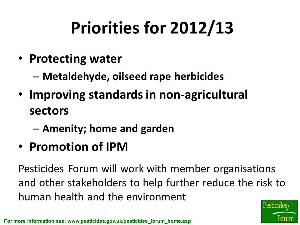 Priorities for 2012/13 Protecting water