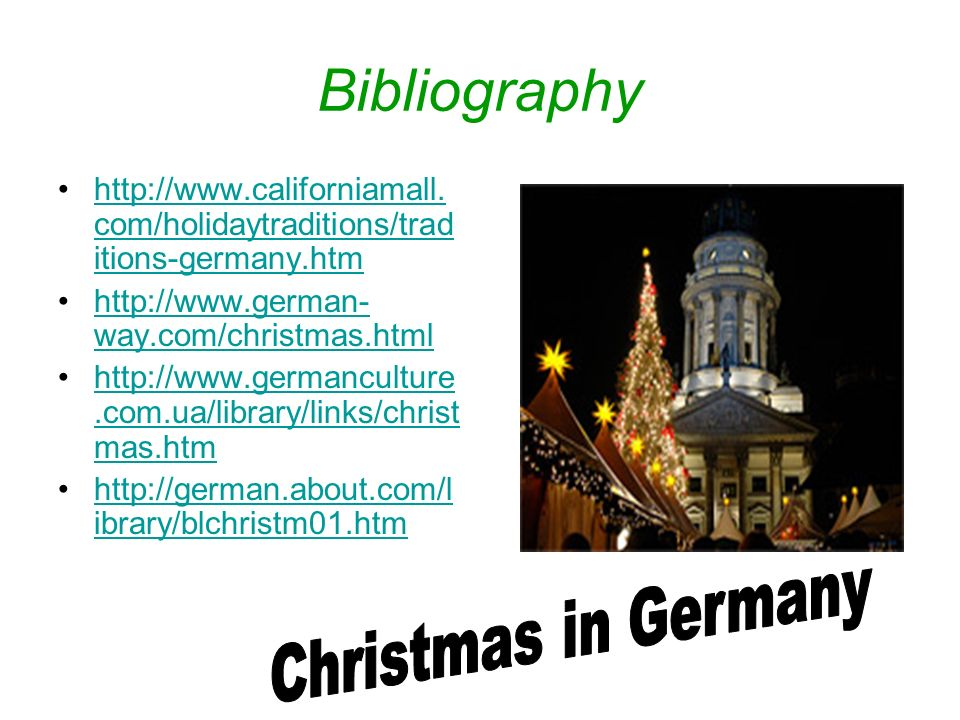 Bibliography Christmas in Germany