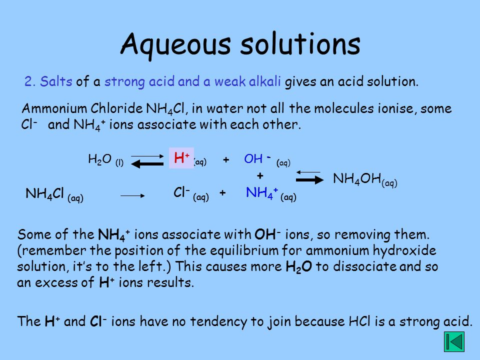 Aqueous solutions 2. Salts of a strong acid and a weak alkali gives an acid solution.