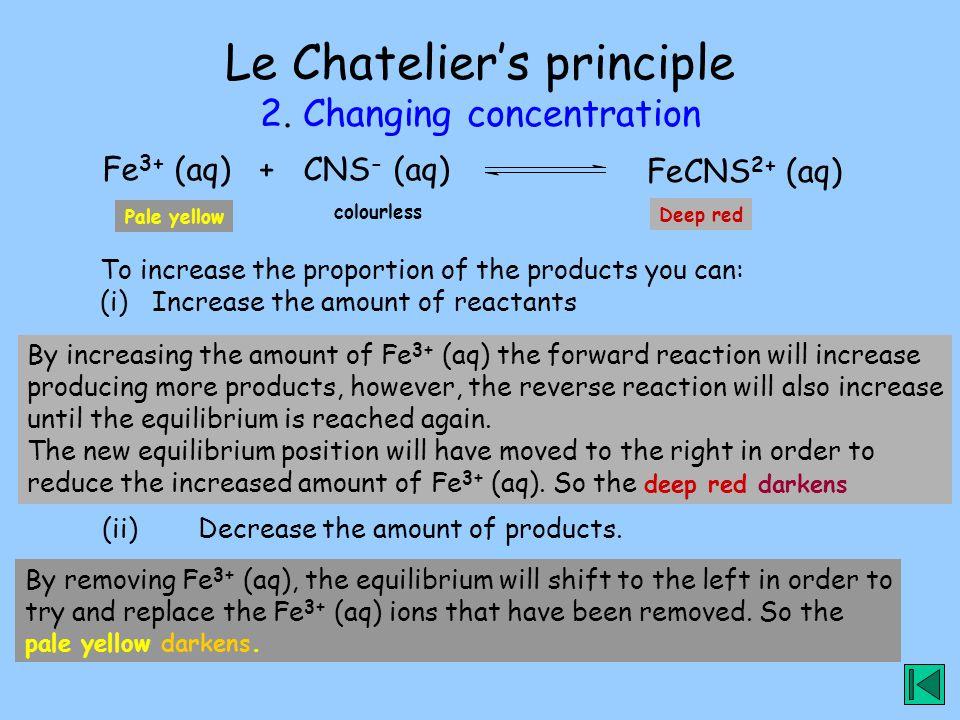 Le Chatelier's principle 2. Changing concentration