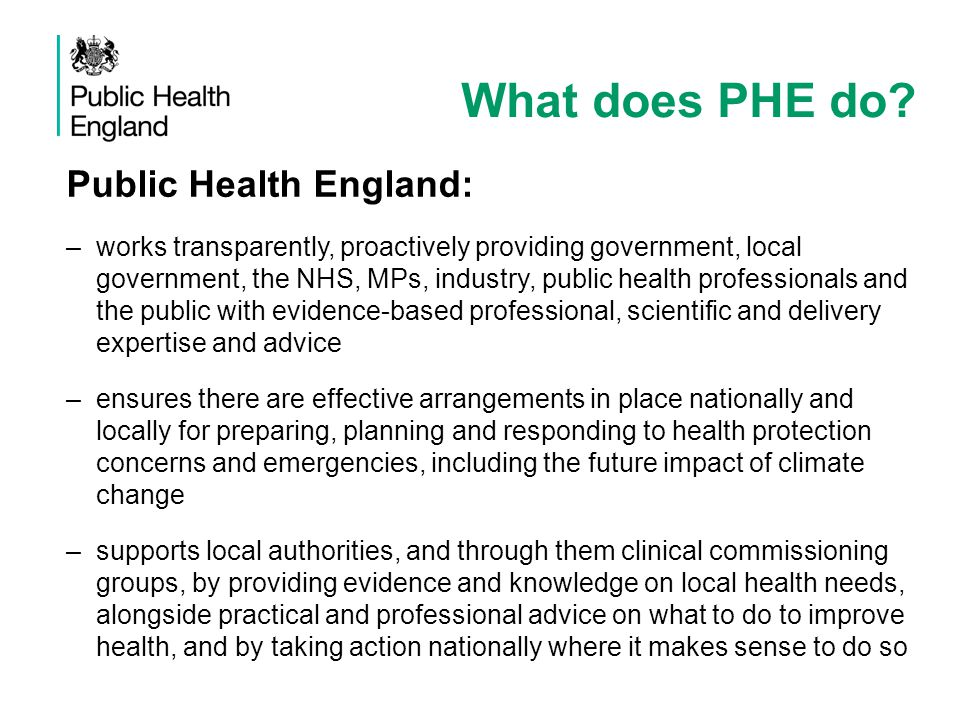 What does PHE do Public Health England: