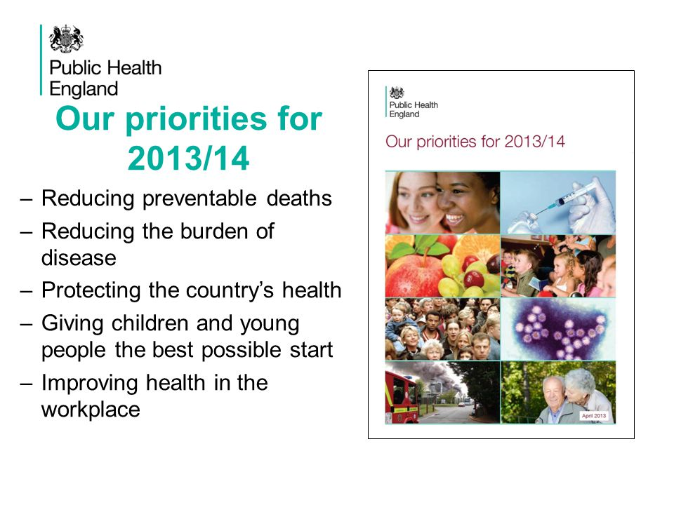 Our priorities for 2013/14 Reducing preventable deaths