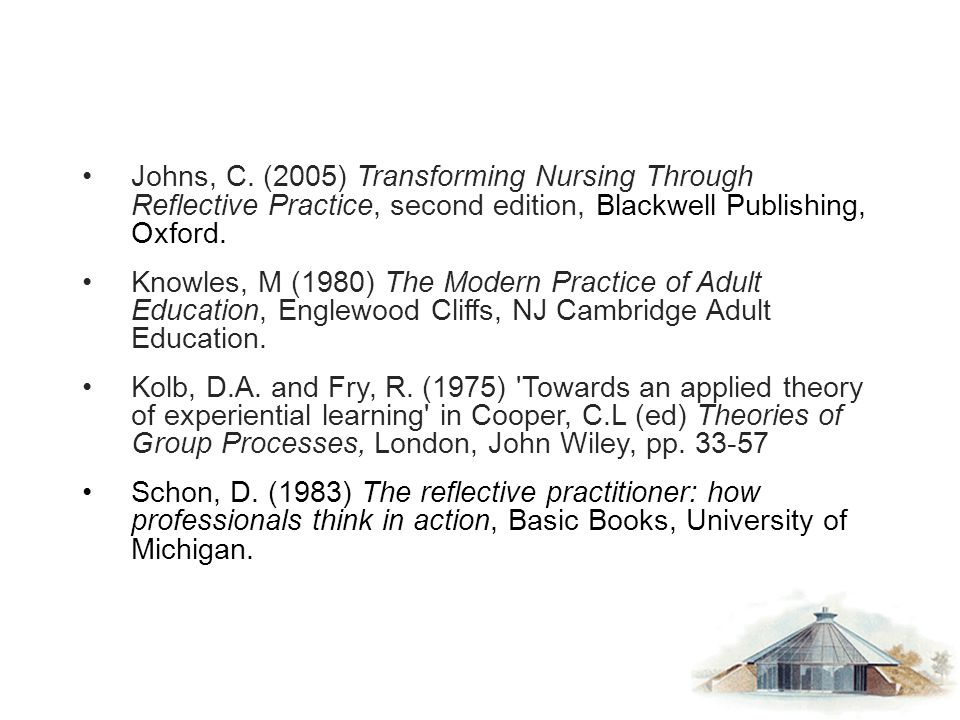Johns, C. (2005) Transforming Nursing Through Reflective Practice, second edition, Blackwell Publishing, Oxford.