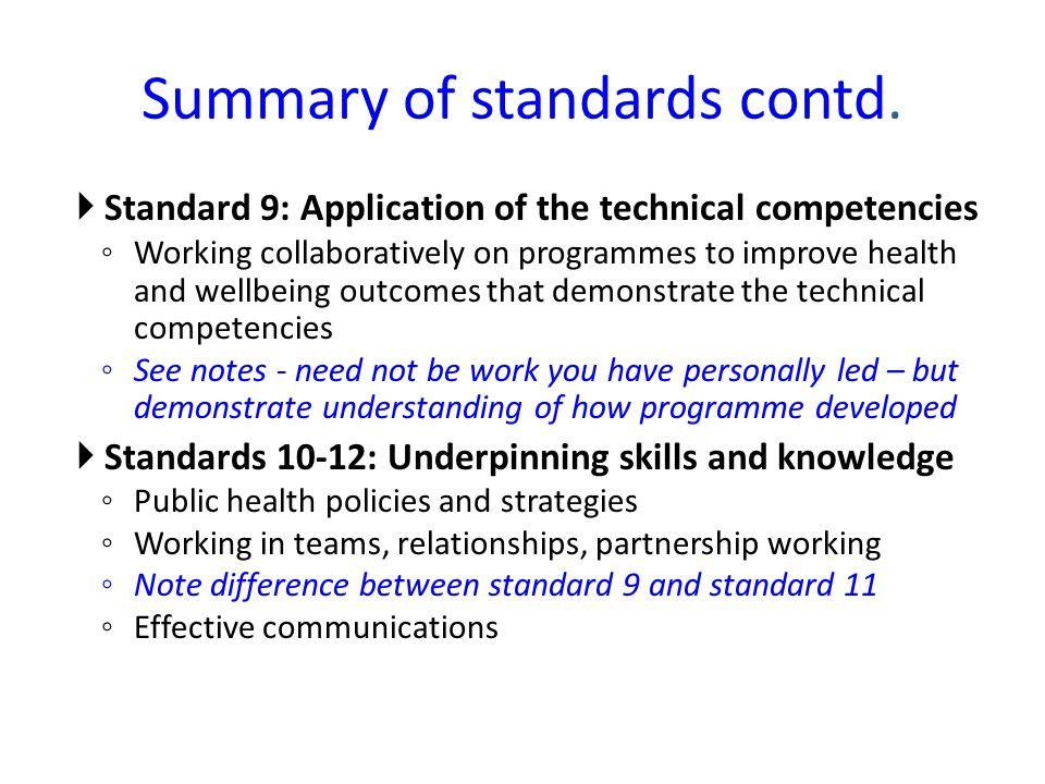Summary of standards contd.