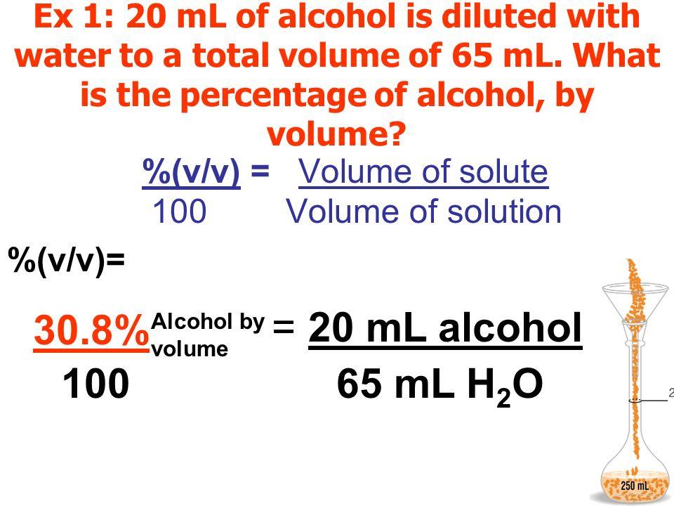 % = 20 mL alcohol 30.8% 100 65 mL H2O %(v/v) = Volume of solute