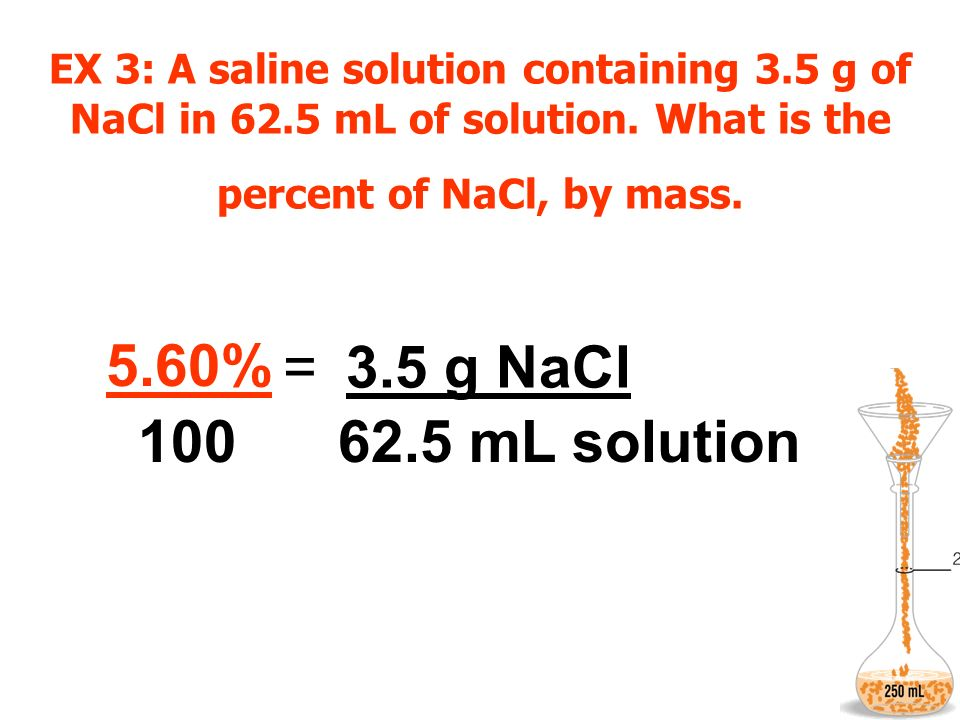 EX 3: A saline solution containing 3. 5 g of NaCl in 62
