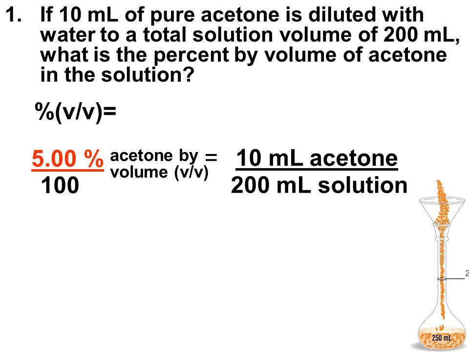%(v/v)= % = 5.00 % 10 mL acetone 100 200 mL solution