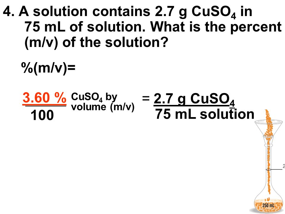 4. A solution contains 2. 7 g CuSO4 in 75 mL of solution