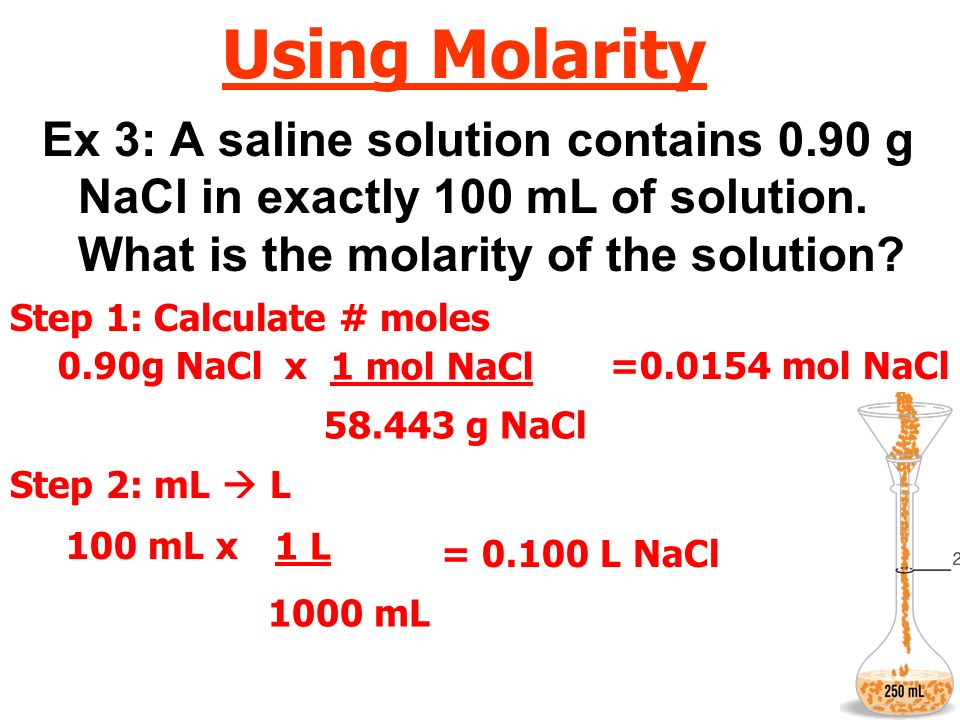 Using Molarity Ex 3: A saline solution contains 0.90 g NaCl in exactly 100 mL of solution. What is the molarity of the solution