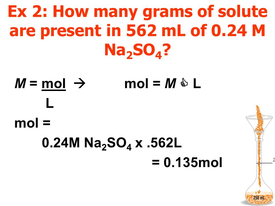 Ex 2: How many grams of solute are present in 562 mL of 0.24 M Na2SO4
