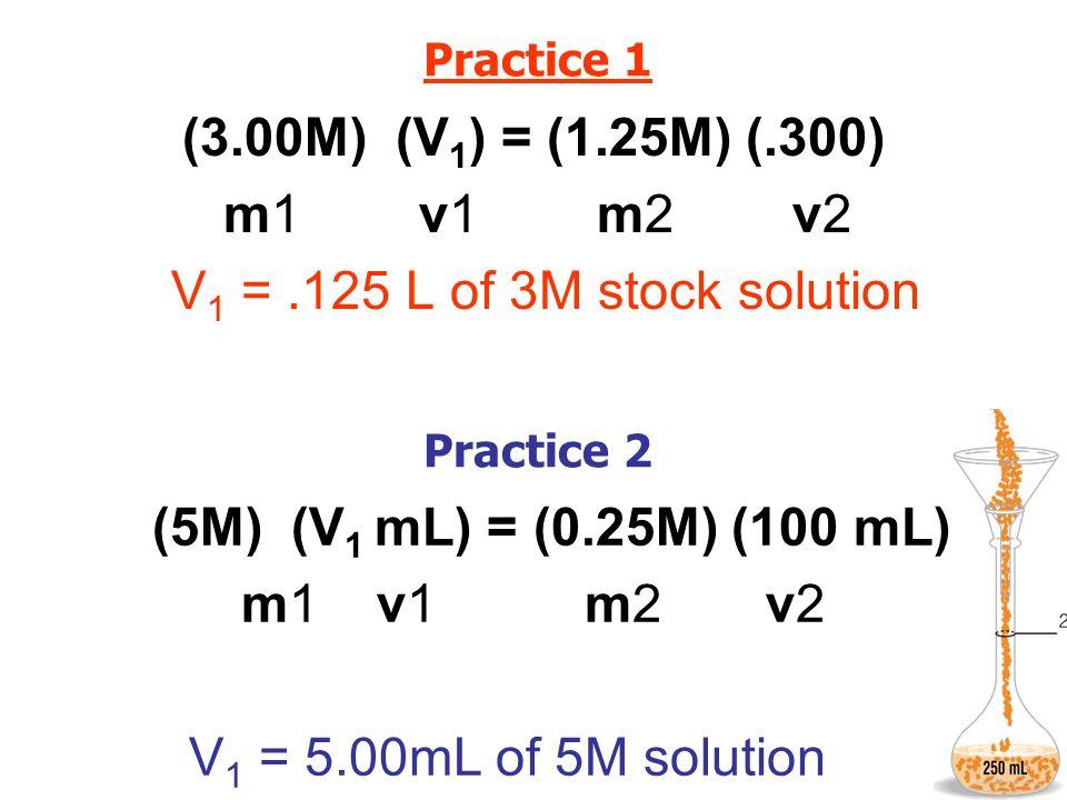 (3.00M) (V1) = (1.25M) (.300) (5M) (V1 mL) = (0.25M) (100 mL)
