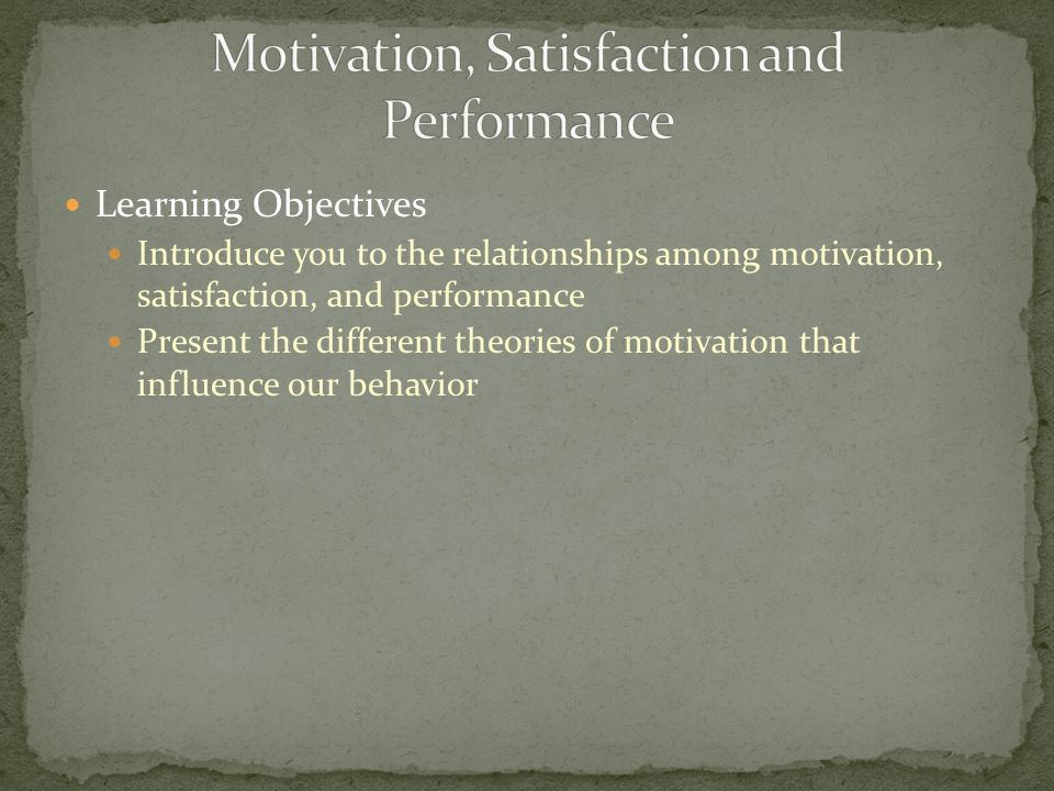 Motivation, Satisfaction and Performance