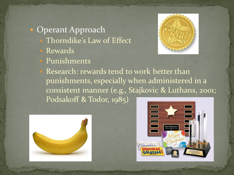 Operant Approach Thorndike's Law of Effect Rewards Punishments