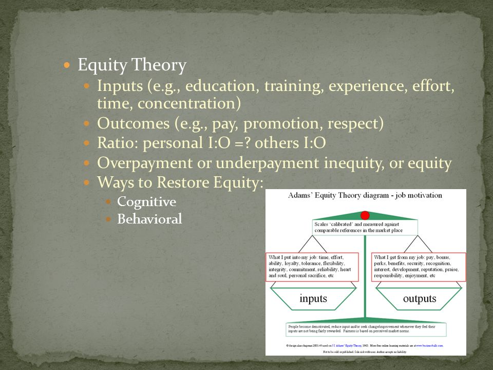 Equity Theory Inputs (e.g., education, training, experience, effort, time, concentration) Outcomes (e.g., pay, promotion, respect)