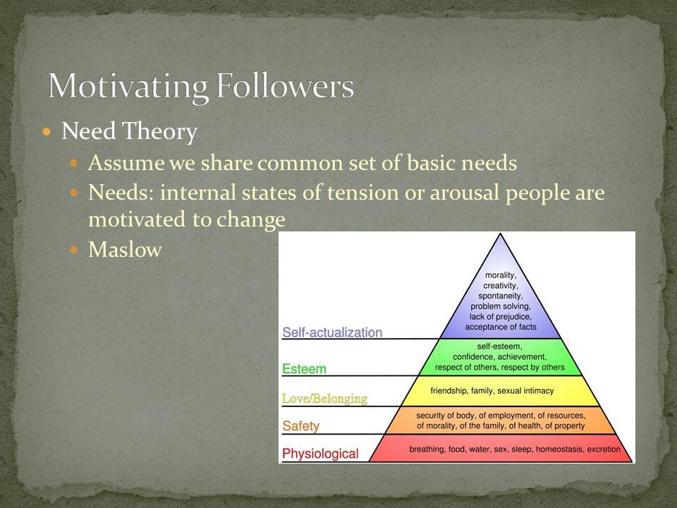 Motivating Followers Need Theory