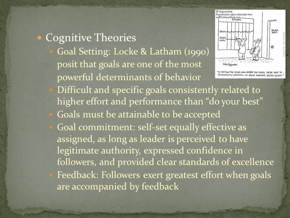 Cognitive Theories Goal Setting: Locke & Latham (1990)