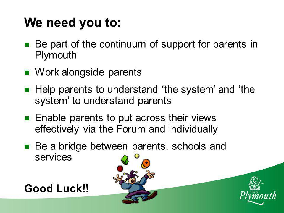 We need you to: Good Luck!!