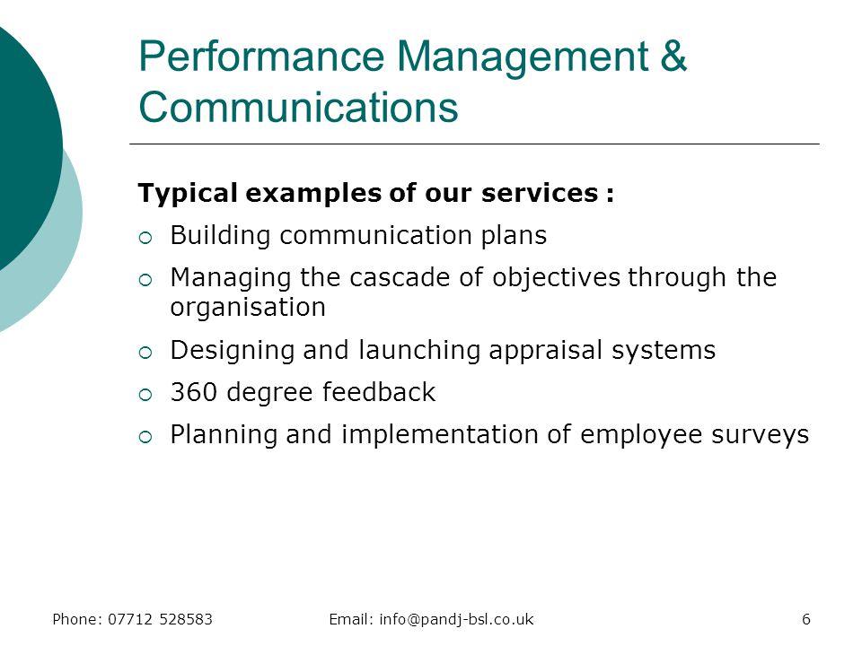 Performance Management & Communications