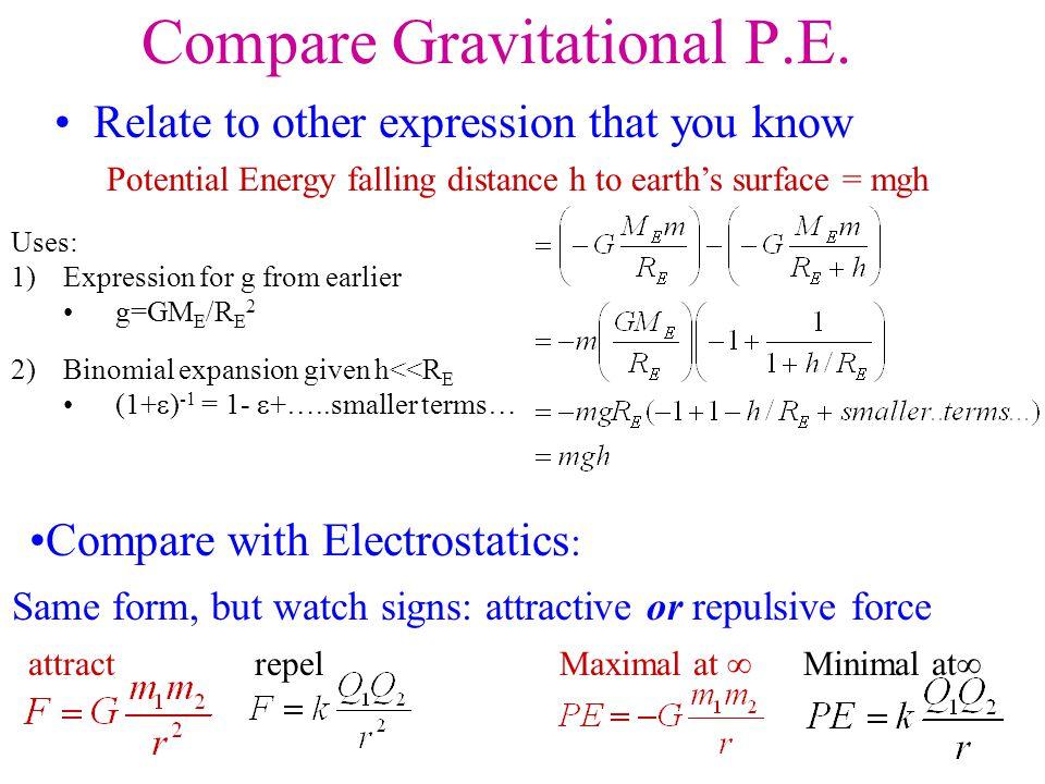 Compare Gravitational P.E.