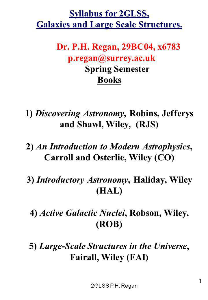 Syllabus for 2GLSS, Galaxies and Large Scale Structures. Dr. P. H