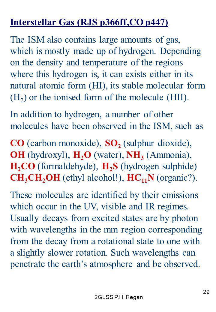 Interstellar Gas (RJS p366ff,CO p447)