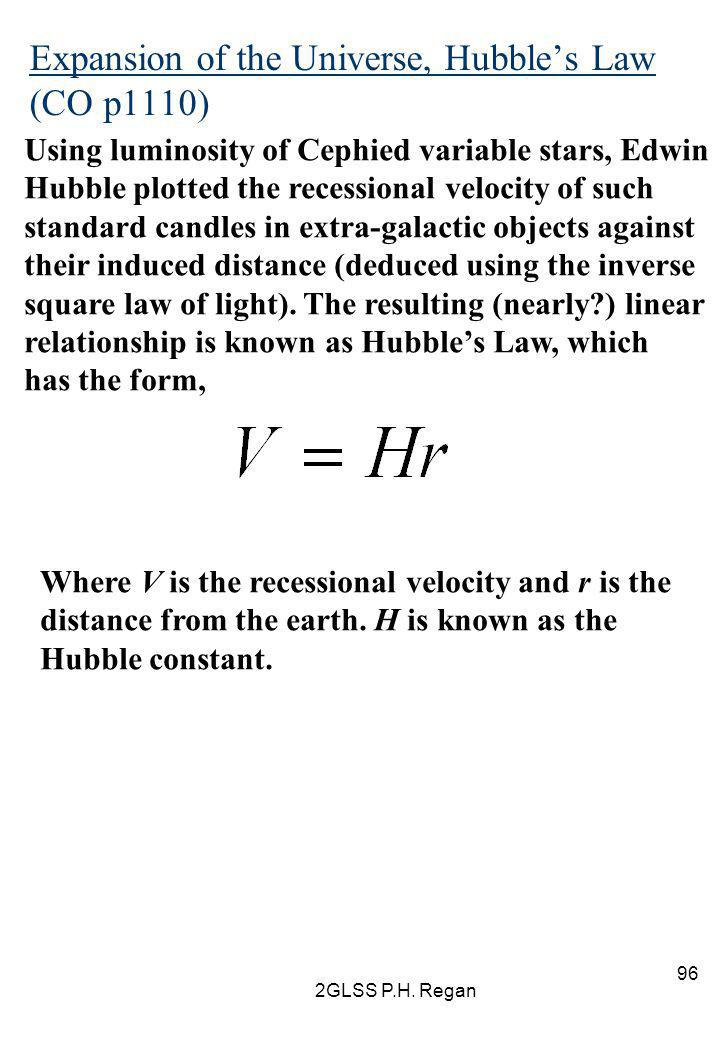 Expansion of the Universe, Hubble's Law (CO p1110)