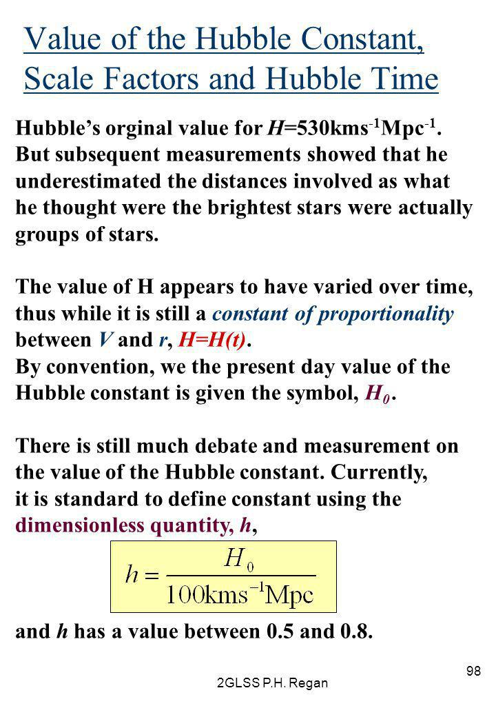 Value of the Hubble Constant, Scale Factors and Hubble Time